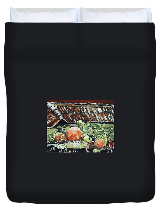 Pumpkin Paintings Duvet Cover featuring the painting Pumpkins On Roof by Seon-Jeong Kim