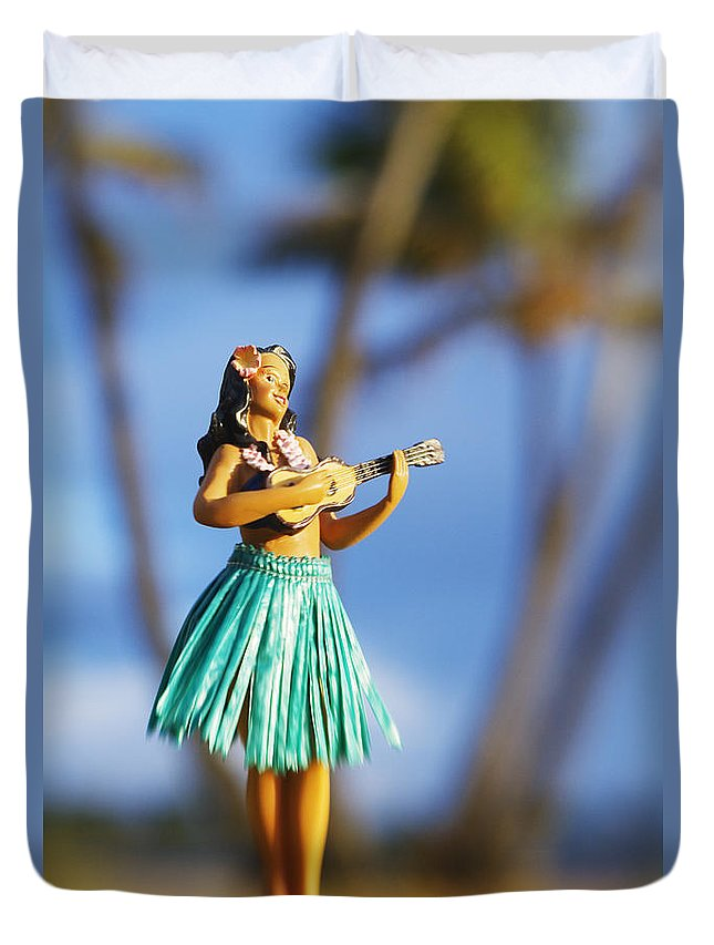 Beach Duvet Cover featuring the photograph Punaluu, Hula Doll by Greg Vaughn - Printscapes