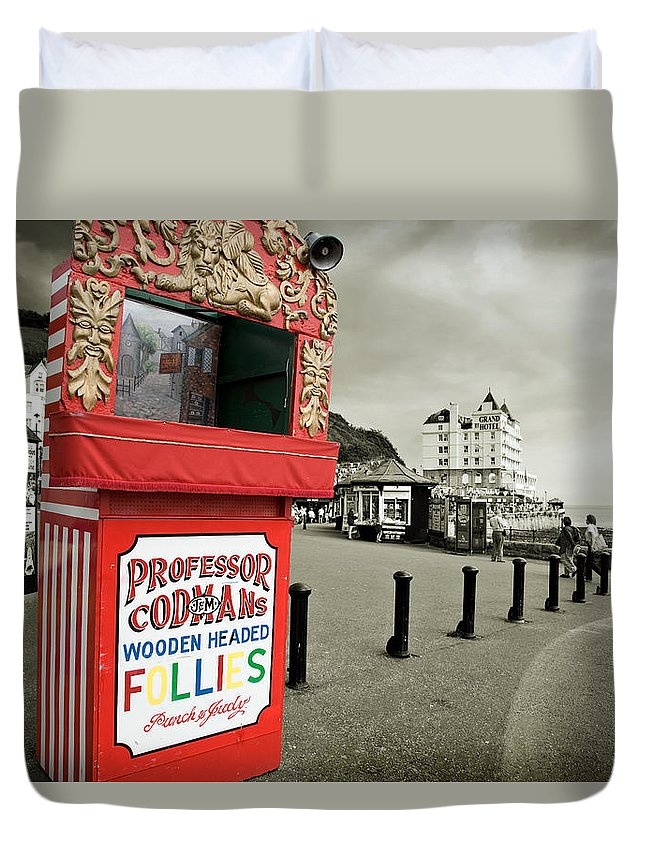 Punch And Judy Duvet Cover featuring the photograph Punch And Judy Theatre On Llandudno Promenade by Mal Bray