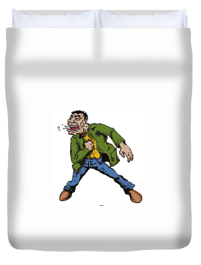 Illustration Duvet Cover featuring the drawing Punch by Tobey Anderson