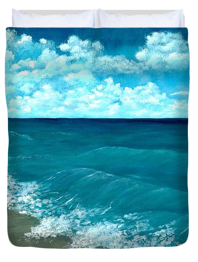 Blue Duvet Cover featuring the painting Punta Cana Beach by Anastasiya Malakhova