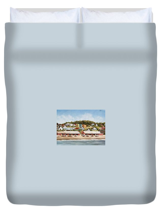 Landscape Seascape Uruguay Sea Seaside Boats Duvet Cover featuring the painting Punta Del Diablo 2 by Natalia Tejera