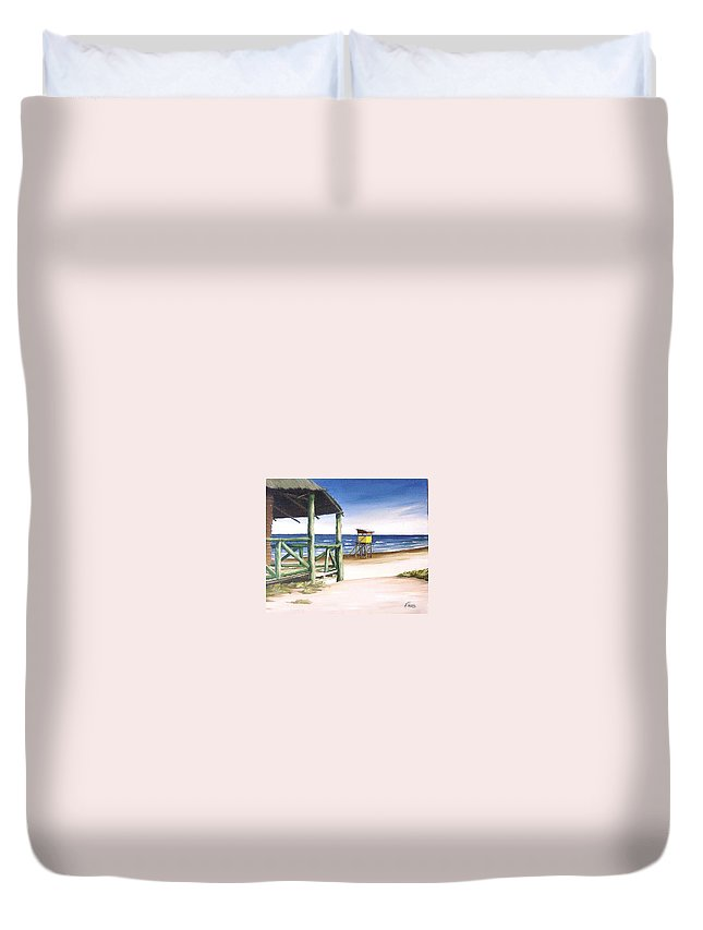 Seascape Beach Landscape Water Ocean Duvet Cover featuring the painting Punta Del Diablo S Morning by Natalia Tejera