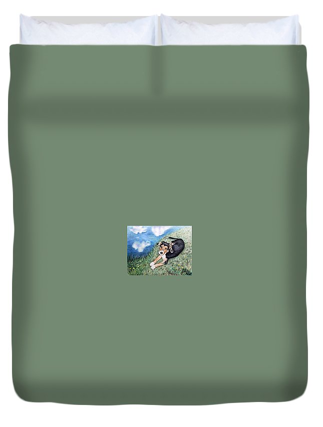 Dog Duvet Cover featuring the painting Puppy Max by Nicole Zeug