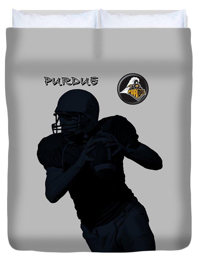 Football Duvet Cover featuring the digital art Purdue Football by David Dehner