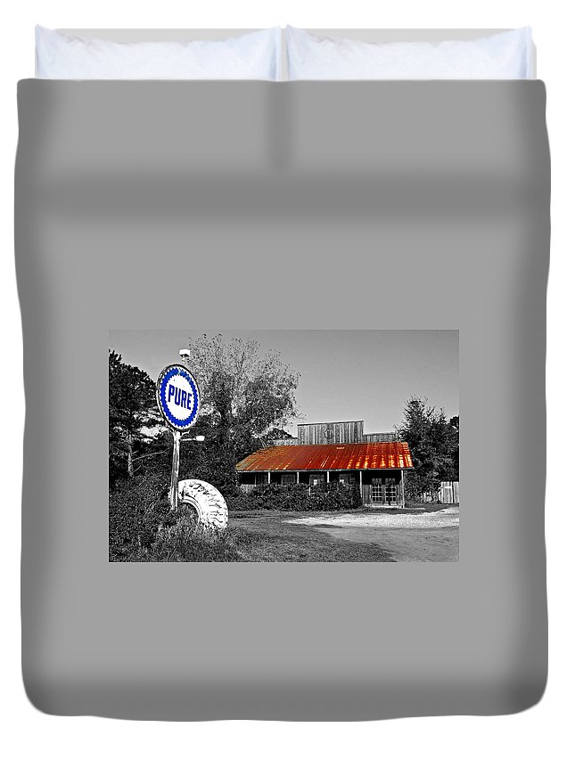 Black Duvet Cover featuring the painting Pure Gas Station by Michael Thomas