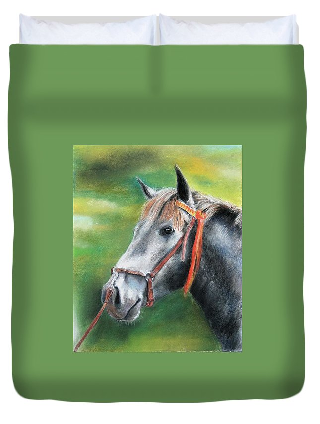 Horse Duvet Cover featuring the painting Pure Spanish by Ceci Watson