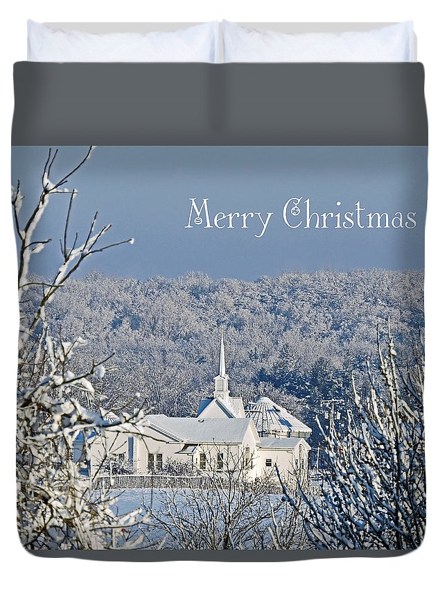 Little White Church Duvet Cover featuring the photograph Pure White Christmas by Regine Brindle