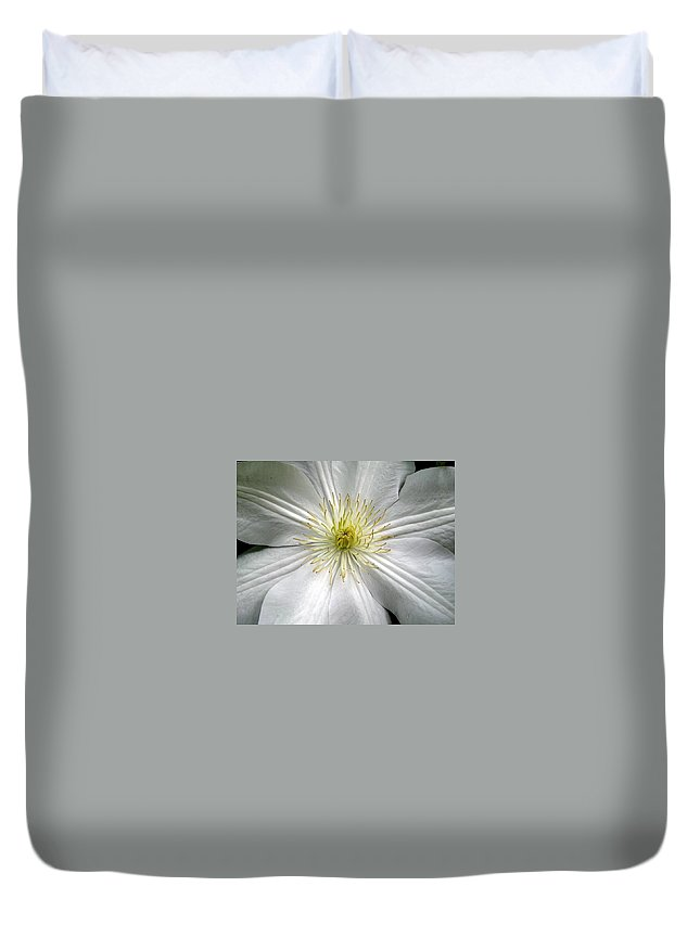 Clematis Duvet Cover featuring the photograph Purity by Marla McFall