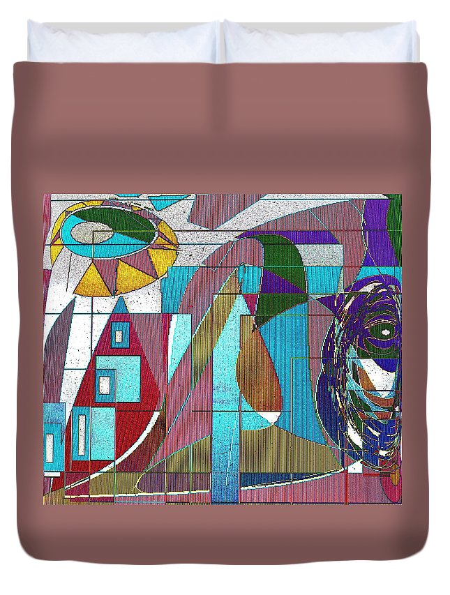 Purple Duvet Cover featuring the digital art Purple And Blue by Ian MacDonald