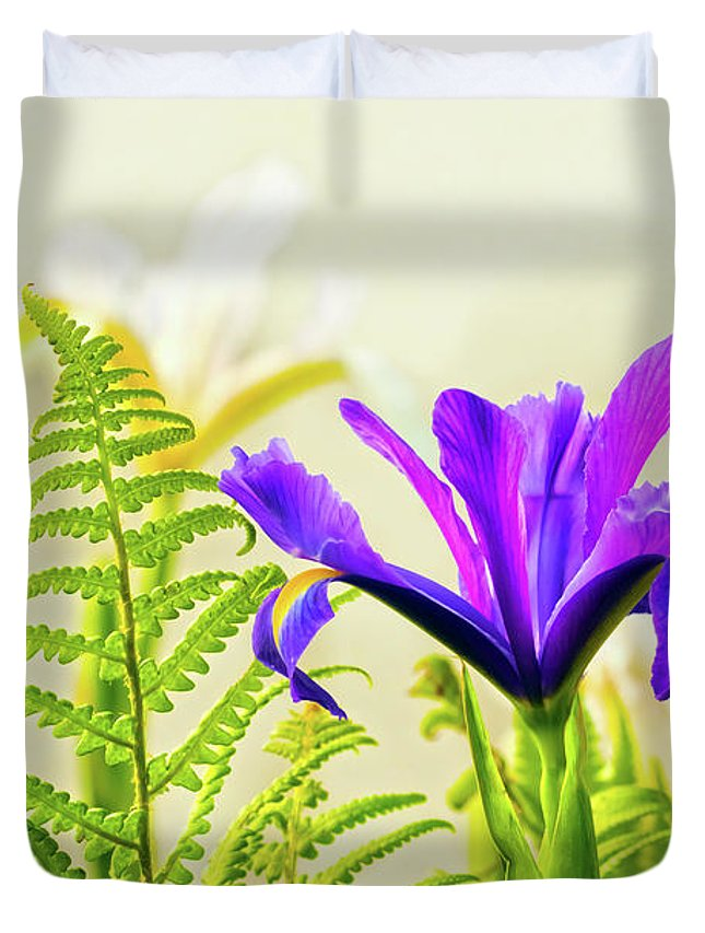 Flower Duvet Cover featuring the photograph Purple And Blue Iris by Terri Waters