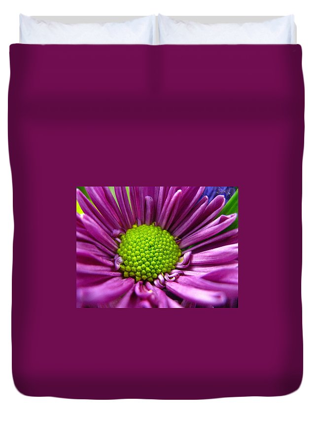 Flower Duvet Cover featuring the photograph Purple And Green by Rhonda Barrett
