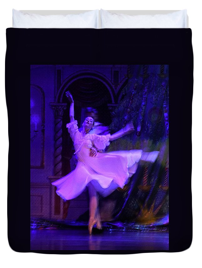 Moscow Ballet Duvet Cover featuring the photograph Purple Ballet Dancer by Ron Morecraft