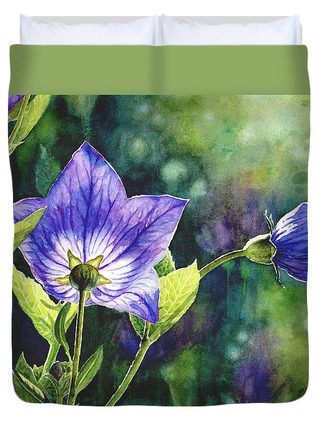 Floral Duvet Cover featuring the painting Purple Bell Flower by Olimpia Wong