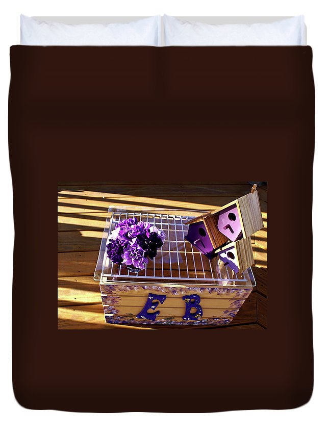 Purple Duvet Cover featuring the photograph Purple Birdhouses 1 by Douglas Barnett
