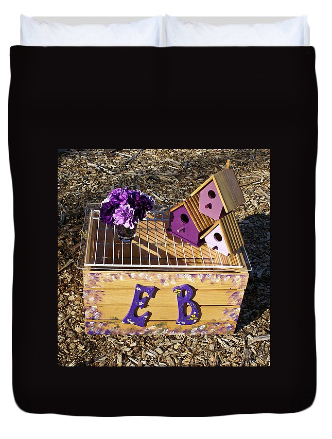 Cove Duvet Cover featuring the photograph Purple Birdhouses 3 by Douglas Barnett