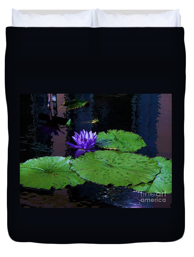 Photograph Duvet Cover featuring the photograph Purple Blue Lily by Eric Schiabor