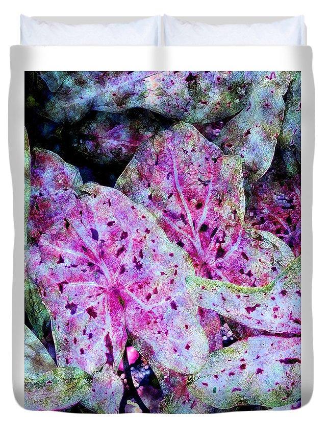 Diane Dimarco Art Duvet Cover featuring the photograph Purple Caladium by Diane DiMarco