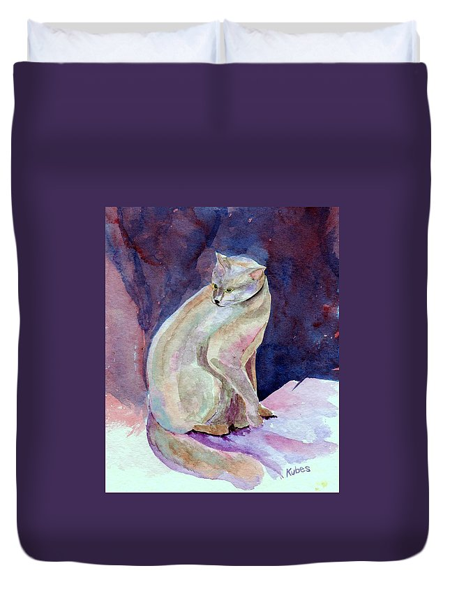 Cat Duvet Cover featuring the painting Purple Cat by Susan Kubes