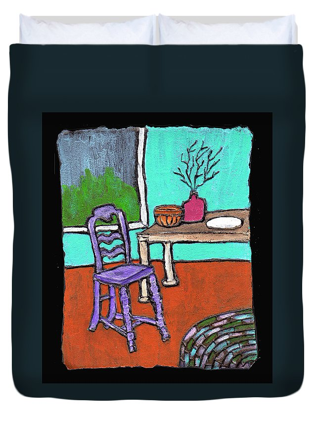Purple Duvet Cover featuring the painting Purple Chair by Wayne Potrafka