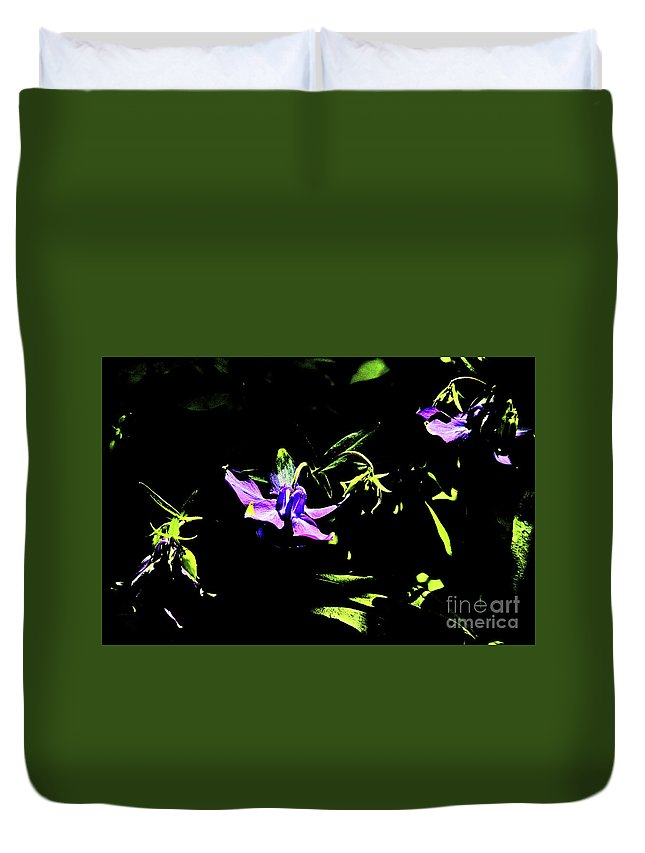 Purple Clematis 4 Duvet Cover featuring the photograph Purple Clematis 4 by David Frederick