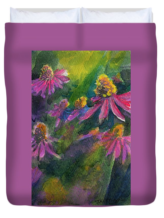Purple Duvet Cover featuring the painting Purple Cone Flowers Outside Beye School by Joseph Abboreno