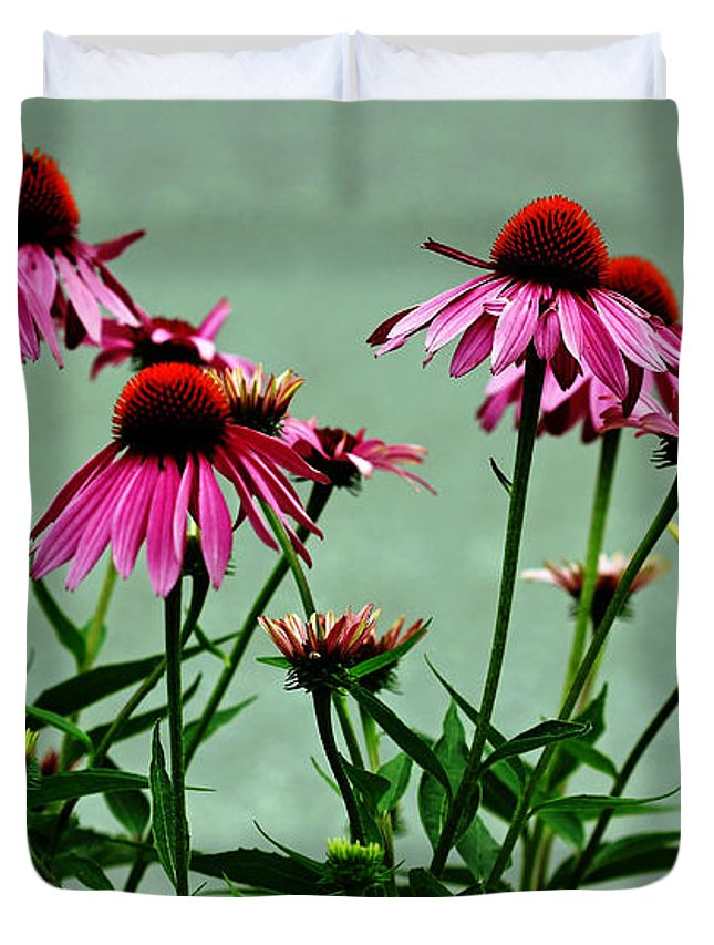 Purple Coneflowers Duvet Cover featuring the photograph Purple Coneflower Bouquet by Debbie Oppermann