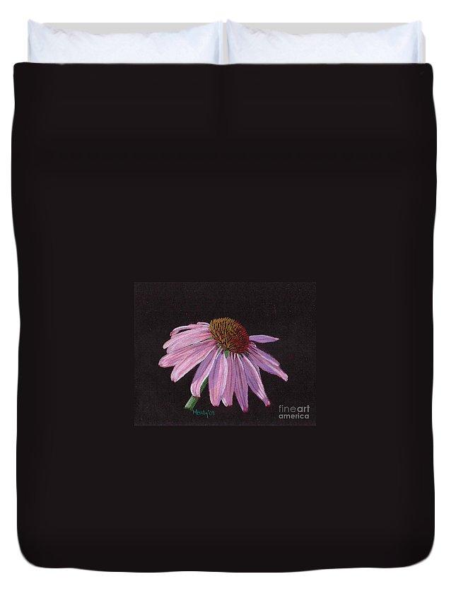 Flower Duvet Cover featuring the pastel Purple Coneflower by Mendy Pedersen