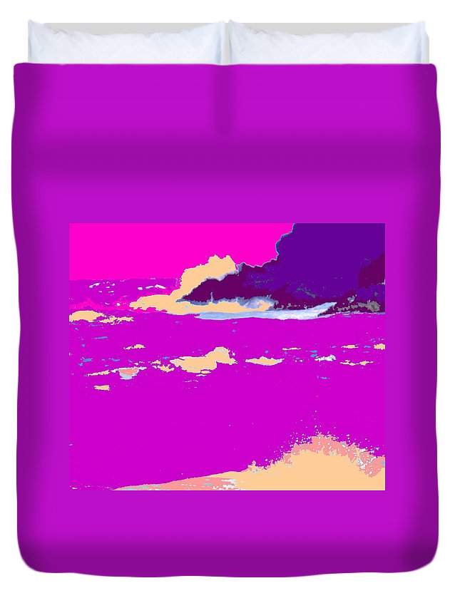 Waves Duvet Cover featuring the photograph Purple Crashing Waves by Ian MacDonald