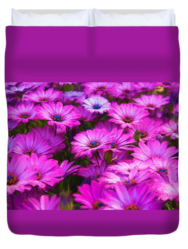 Purple Duvet Cover featuring the photograph Purple Daisies by Vicki France