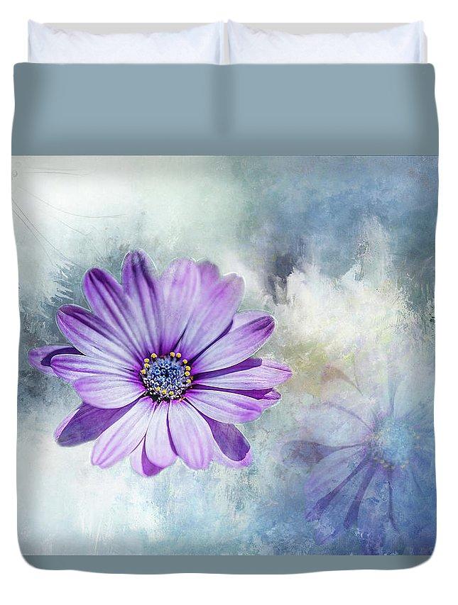 Photograph Duvet Cover featuring the digital art Purple Daisy Swirl by Terry Davis