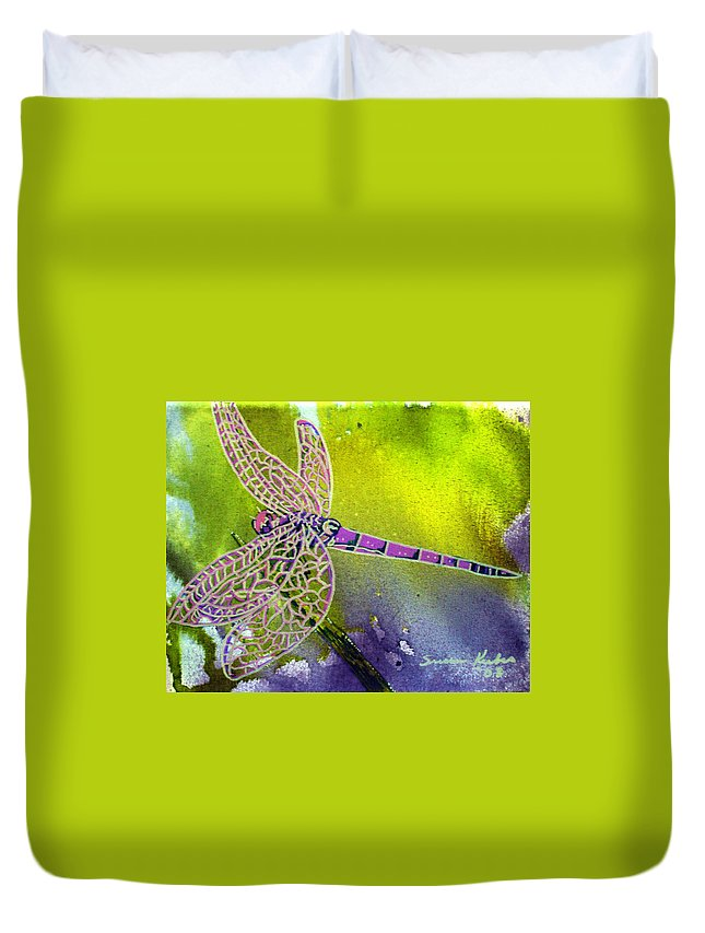 Dragonfly Duvet Cover featuring the painting Purple Dragonfly by Susan Kubes