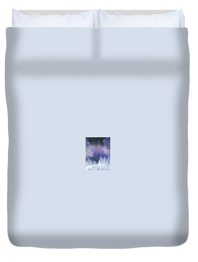 Winter Duvet Cover featuring the painting Purple Dream by Irina Astley
