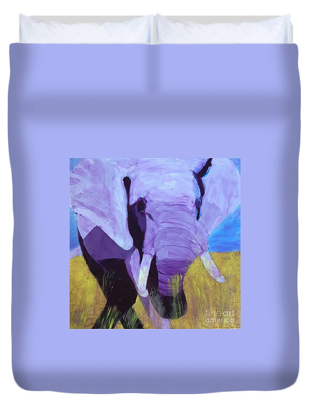Art Portfolio Duvet Cover featuring the painting Purple Elephant by Donald J Ryker III