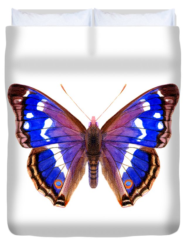Duvet Cover featuring the painting Purple Emperor Butterfly by Alison Langridge