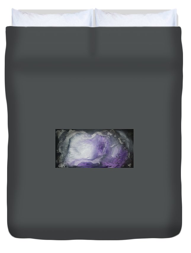 Painting Duvet Cover featuring the painting Purple Explosion By Madart by Megan Duncanson