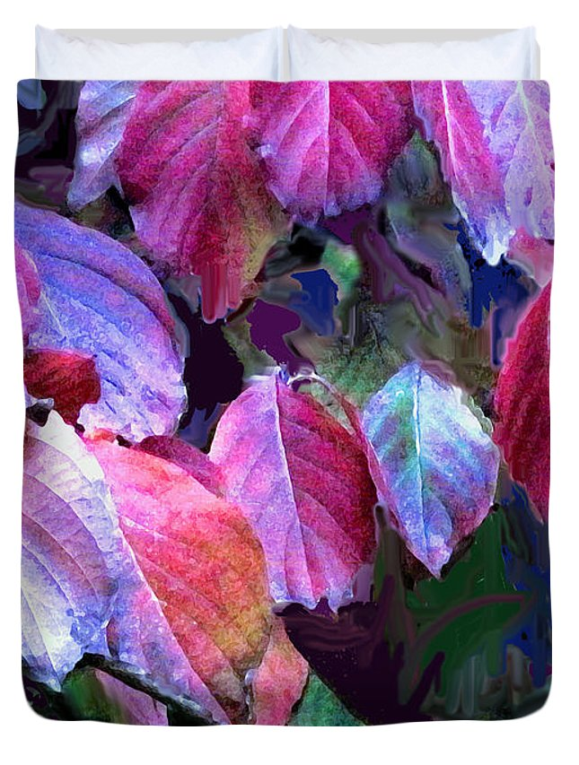 Leaves Duvet Cover featuring the photograph Purple Fall Leaves by Ian MacDonald