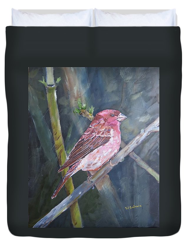 Birds Duvet Cover featuring the painting Purple Finch by Sal Cutrara