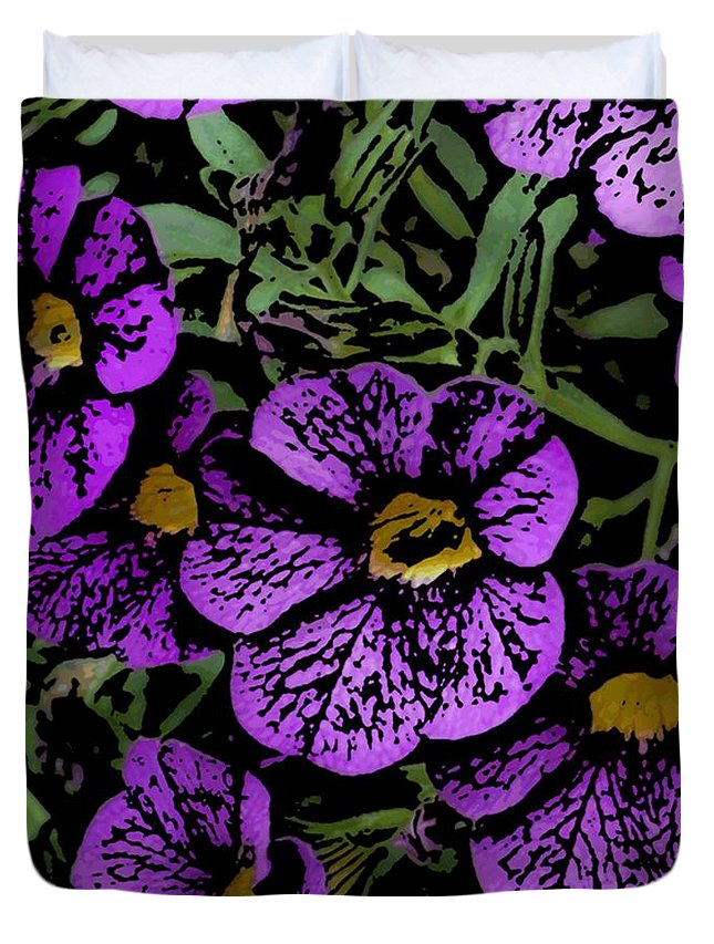 Digital Photograph Duvet Cover featuring the photograph Purple Floral Fantasy by David Lane
