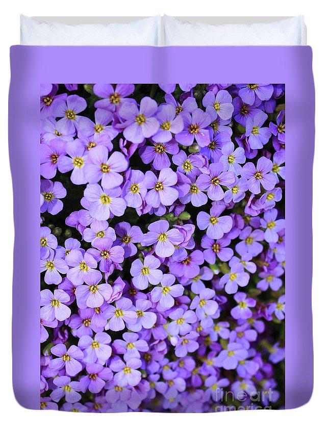 Purple Duvet Cover featuring the photograph Purple Flowers - Rockcress by Carol Groenen