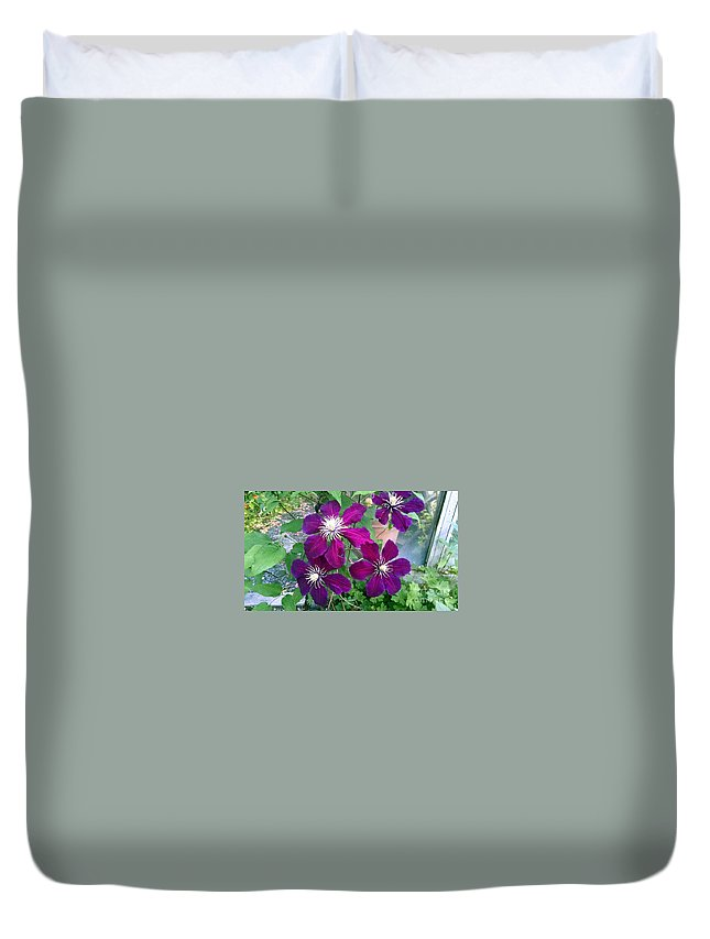 Floral Duvet Cover featuring the photograph Purple Flowers by Steven Wills