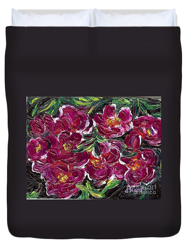 Flowers Duvet Cover featuring the painting Purple Flowers by Susan Harris