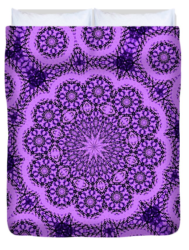 Landscape Duvet Cover featuring the photograph Purple Geek Kaleidoscope Five by Morgan Carter