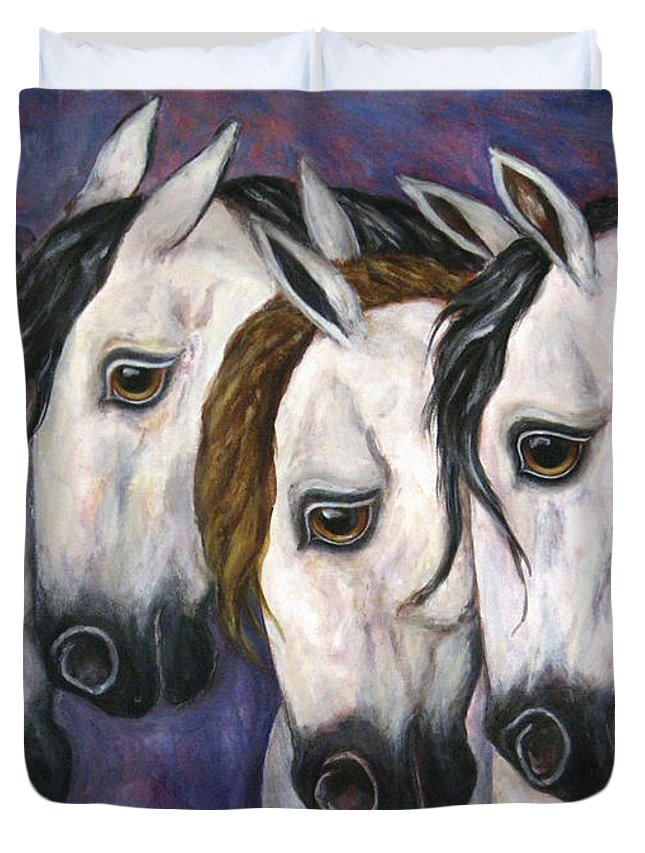 Horse Painting Duvet Cover featuring the painting Purple Haze by Frances Gillotti