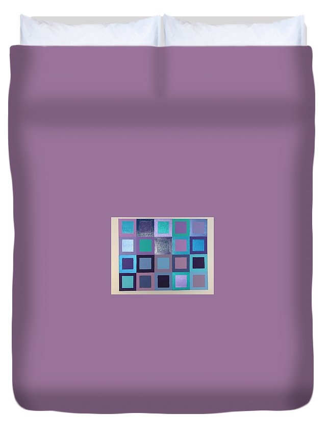 Squares Duvet Cover featuring the painting Purple Haze by Gay Dallek