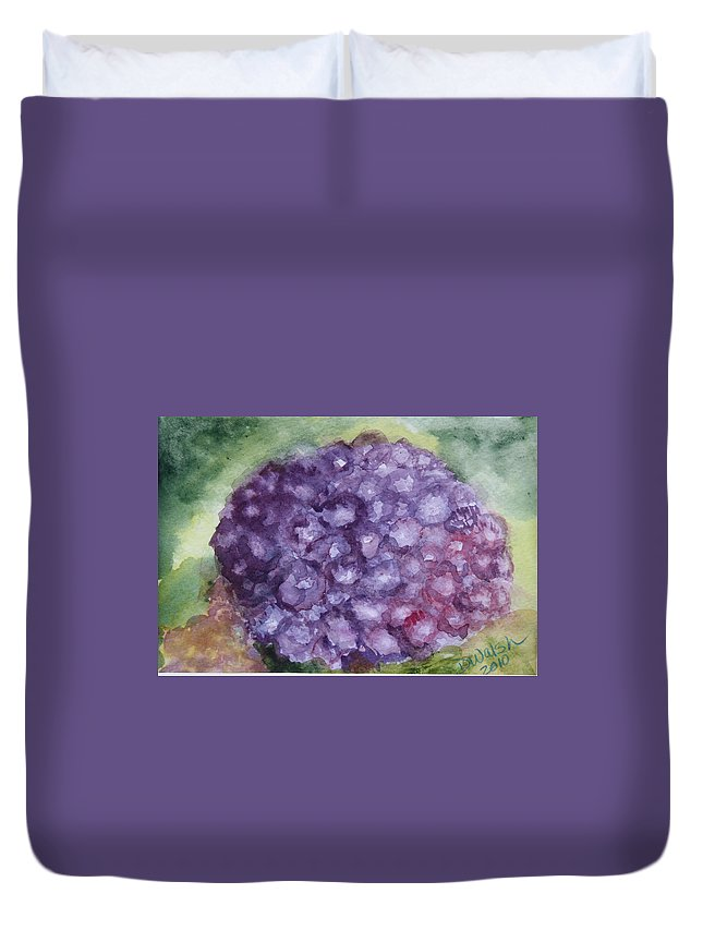 Purple Duvet Cover featuring the painting Purple Hydrangea by Donna Walsh