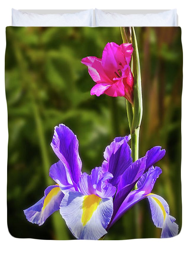 Flower Duvet Cover featuring the photograph Purple Iris And Gladioli Byzantinus by Terri Waters