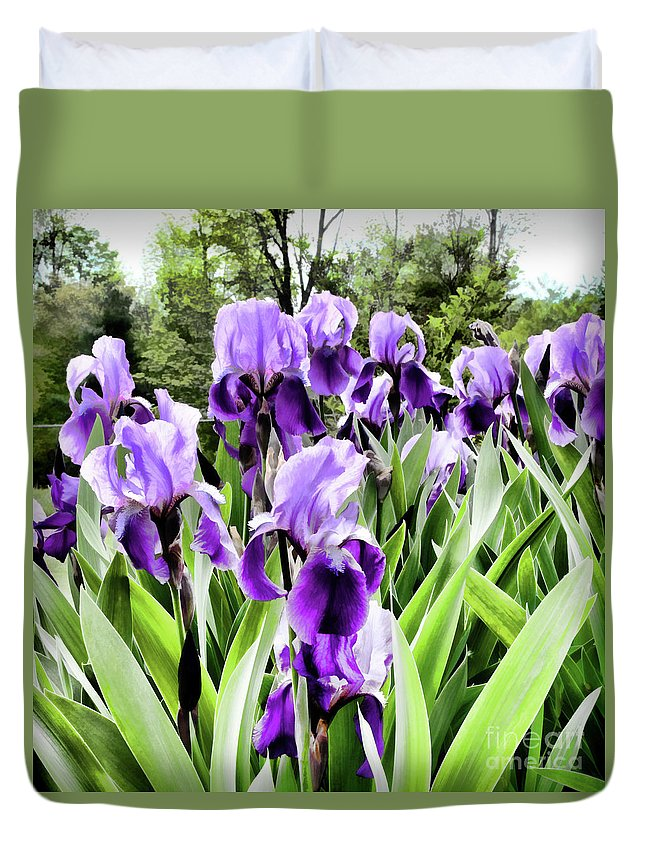 Flora Duvet Cover featuring the photograph Purple Iris by Laura Mace Rand