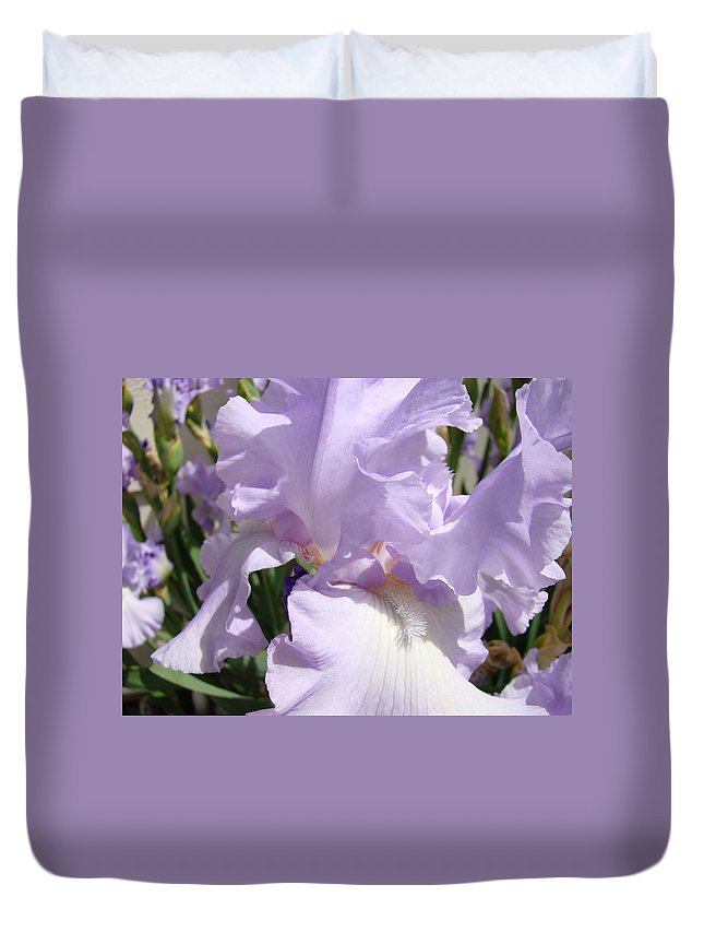 �irises Artwork� Duvet Cover featuring the photograph Purple Irises Artwork Lavender Iris Flowers 13 Botanical Floral Art Baslee Troutman by Baslee Troutman