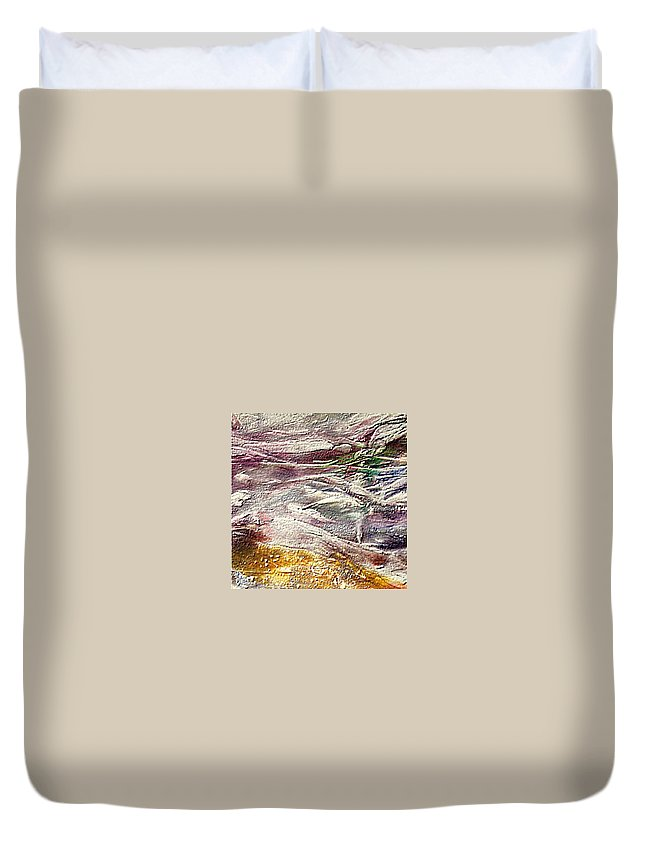 Purple Land Duvet Cover featuring the painting Purple Land by Dragica Micki Fortuna